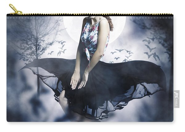 Scared Young Woman In Eerie Halloween Forest  Carry-all Pouch