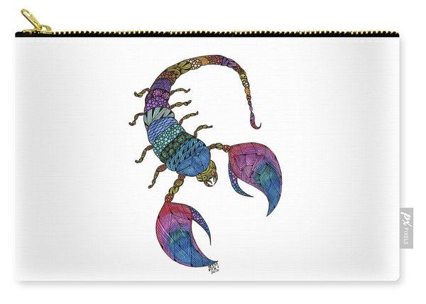 Carry-all Pouch featuring the drawing Scorpio by Barbara McConoughey