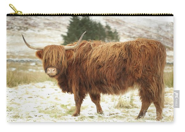Scottish Red Highland Cow In Winter Carry-all Pouch