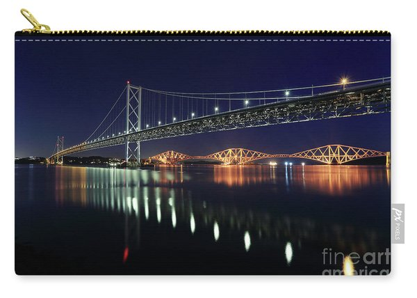 Scottish Steel In Silver And Gold Lights Across The Firth Of Forth At Night Carry-all Pouch