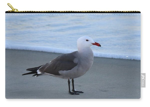 Carry-all Pouch featuring the photograph Sea Gull On The Beach - 3 by Christy Pooschke