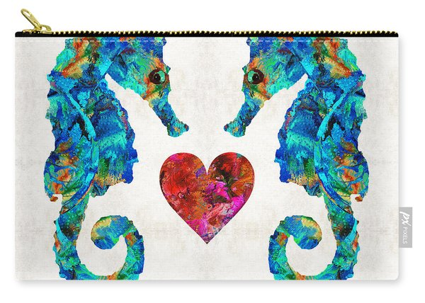 Sea Lovers - Seahorse Beach Art By Sharon Cummings Carry-all Pouch