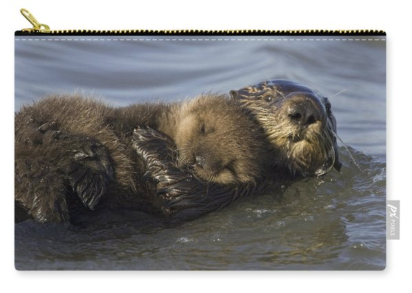 Sea Otter Mother With Pup Monterey Bay Carry-all Pouch