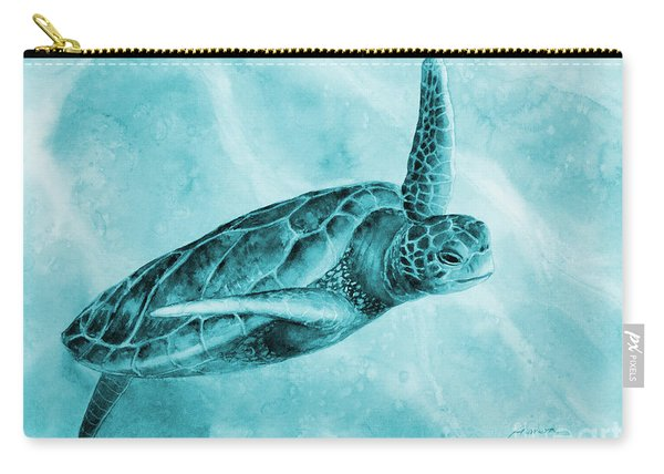 Sea Turtle 2 On Blue Carry-all Pouch