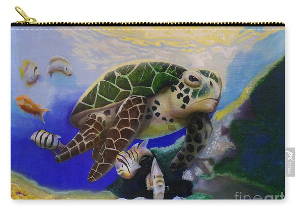 Sea Turtle Acrylic Painting Carry-all Pouch