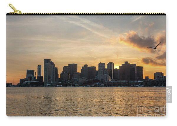 Seagull Flying At Sunset With The Skyline Of Boston On The Backg Carry-all Pouch