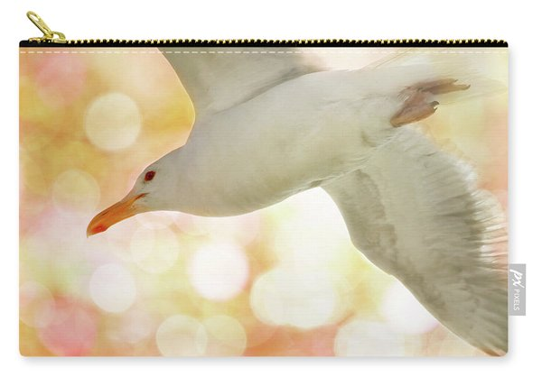 Seagull On Pink And Yellow Sky Carry-all Pouch