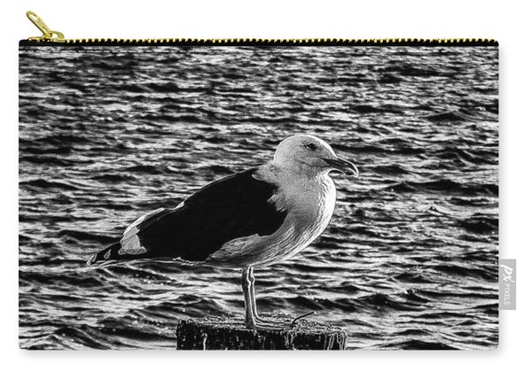 Seagull Perch, Black And White Carry-all Pouch