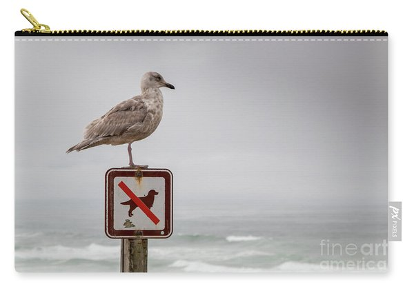 Seagull Standing On Sign And Looking At The Ocean Carry-all Pouch
