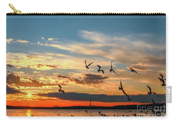 Seagulls At Sunset Carry-all Pouch