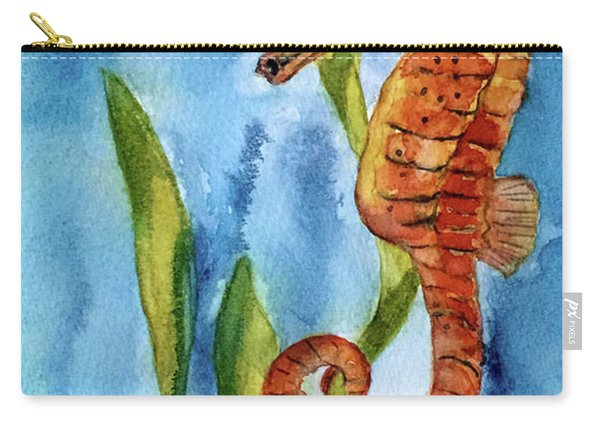 Seahorse With Sea Grass Carry-all Pouch