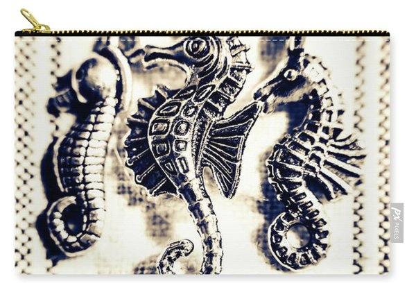 Seahorses In Blue Carry-all Pouch