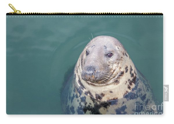 Seal With Long Whiskers With Head Sticking Out Of Water Carry-all Pouch
