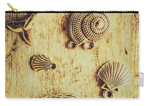 Seashell Shaped Pendants On Wooden Background Carry-all Pouch
