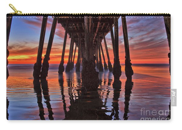 Carry-all Pouch featuring the photograph Seaside Reflections Under The Imperial Beach Pier by Sam Antonio Photography