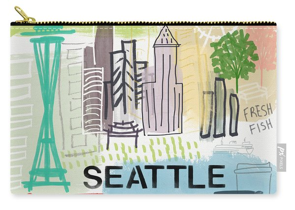 Seattle Cityscape- Art By Linda Woods Carry-all Pouch