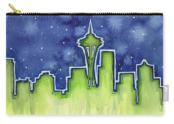 Seattle Night Sky Watercolor Carry-all Pouch