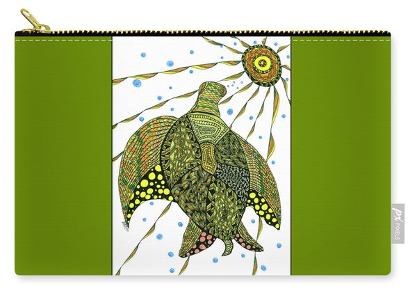 Carry-all Pouch featuring the drawing Seaturtle  by Barbara McConoughey
