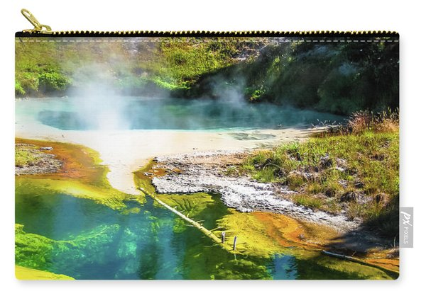 Carry-all Pouch featuring the photograph Seismograph Pool In Yellowstone by Benny Marty