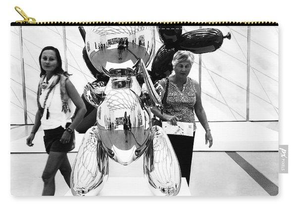 Self Portrait In Jeff Koons Mylar Rabbit Balloon Sculpture Carry-all Pouch