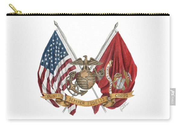 Semper Fidelis Crossed Flags Carry-all Pouch