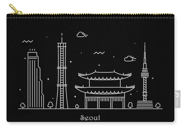 Seoul Skyline Travel Poster Carry-all Pouch