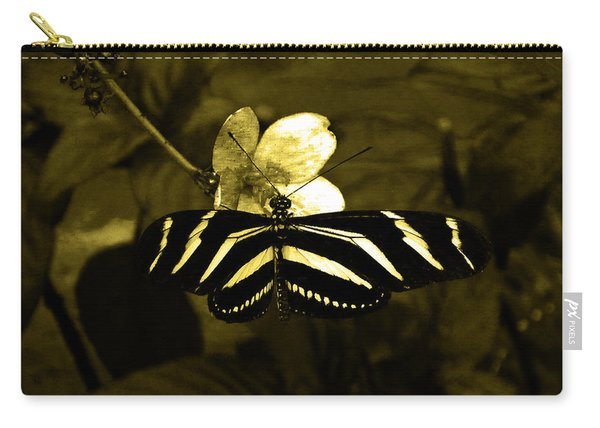 Sepia Butterfly And Flower Carry-all Pouch