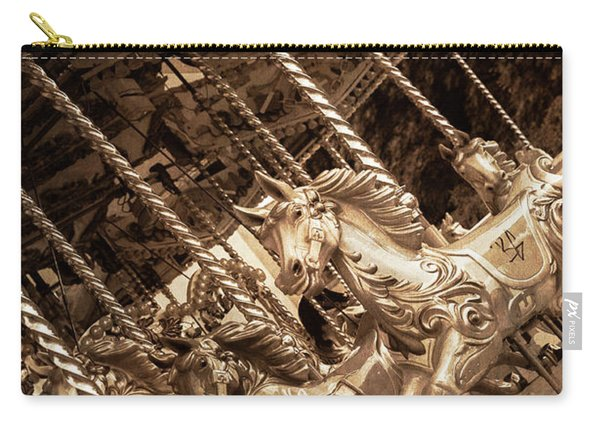 Sepia Carousel Horse Carry-all Pouch
