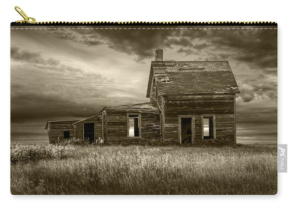 Sepia Tone Of Abandoned Prairie Farm House Carry-all Pouch