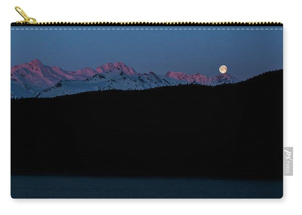 Setting Moon Over Alaskan Peaks II Carry-all Pouch