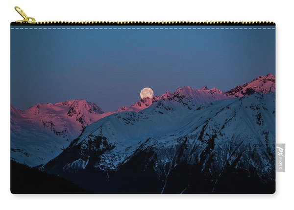 Setting Moon Over Alaskan Peaks Iv Carry-all Pouch