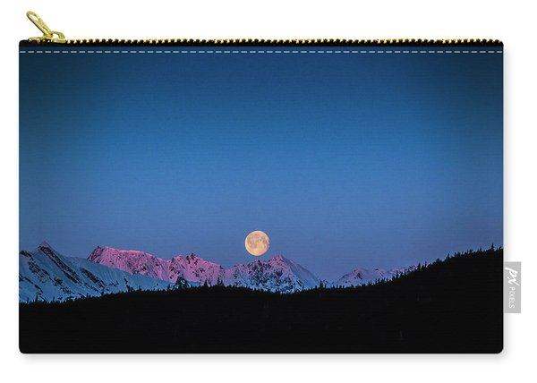 Setting Moon Over Alaskan Peaks Carry-all Pouch