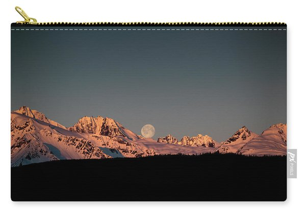 Setting Moon Over Alaskan Peaks V Carry-all Pouch