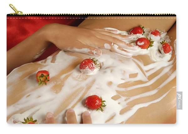 Sexy Nude Woman Body Covered With Cream And Strawberries Carry-all Pouch