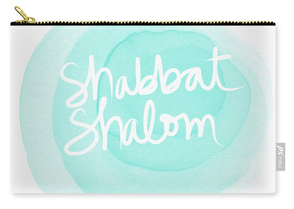 Shabbat Shalom Sky Blue Drop- Art By Linda Woods Carry-all Pouch
