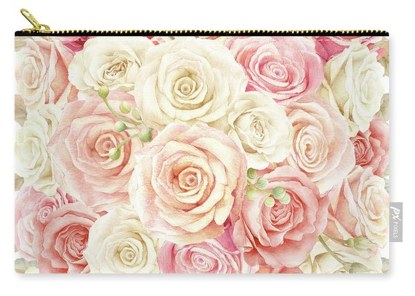 Shabby Chic Blush Boho Roses Carry-all Pouch