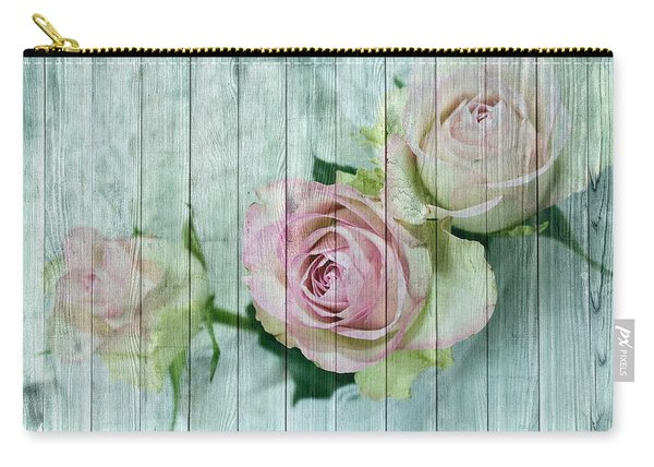 Shabby Chic Pink Roses On Blue Wood Carry-all Pouch
