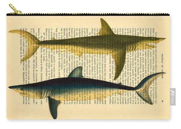 Sharks On Dictionary Art Paper Background Carry-all Pouch