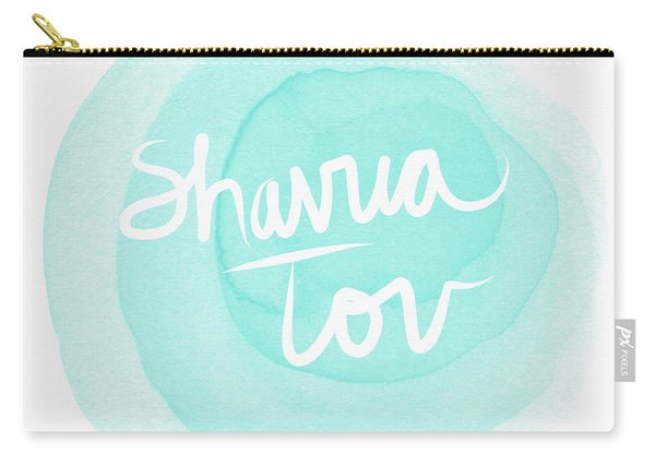 Shavua Tov Blue And White- Art By Linda Woods Carry-all Pouch