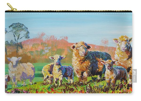 Sheep And Lambs In Devon Landscape Bright Colors Carry-all Pouch