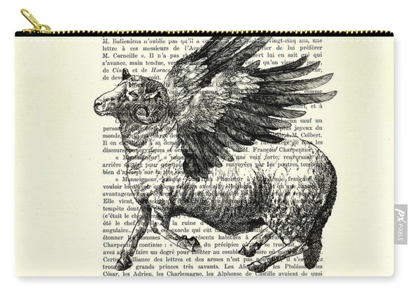 Sheep With Angel Wings Black And White  Carry-all Pouch