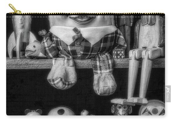Shelf Of Old Toys In Black And White Carry-all Pouch