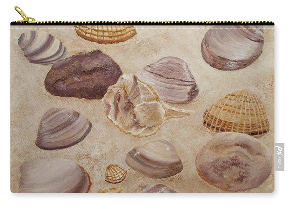 Carry-all Pouch featuring the painting Shells And Stones by Angeles M Pomata