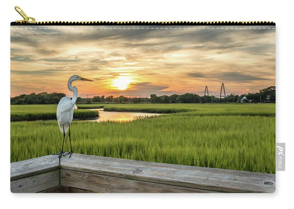 Carry-all Pouch featuring the photograph Shem Creek Pier Sunset by Donnie Whitaker