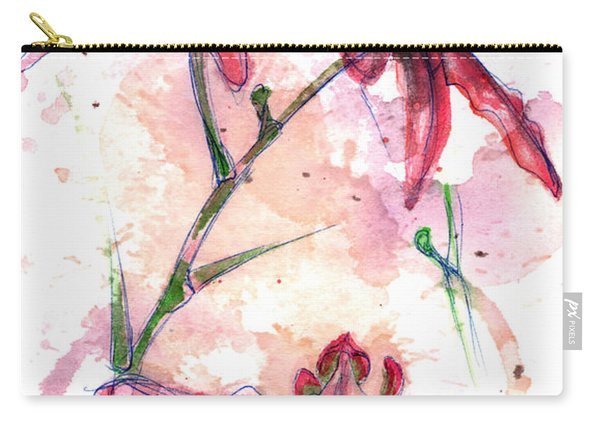Carry-all Pouch featuring the painting Shiraz Orchids I by Ashley Kujan