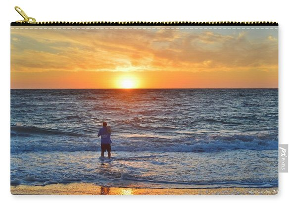 Shore Fishing At Sunrise   Carry-all Pouch