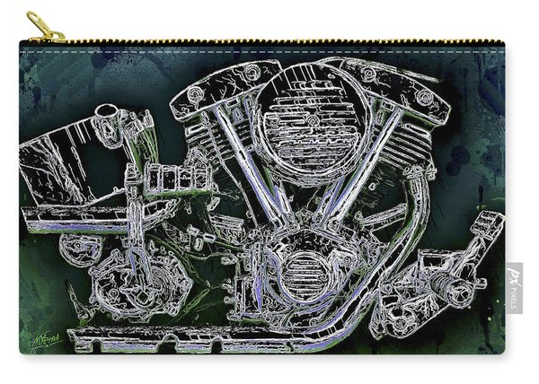 Carry-all Pouch featuring the mixed media Harley - Davidson Shovelhead Engine by Al Matra