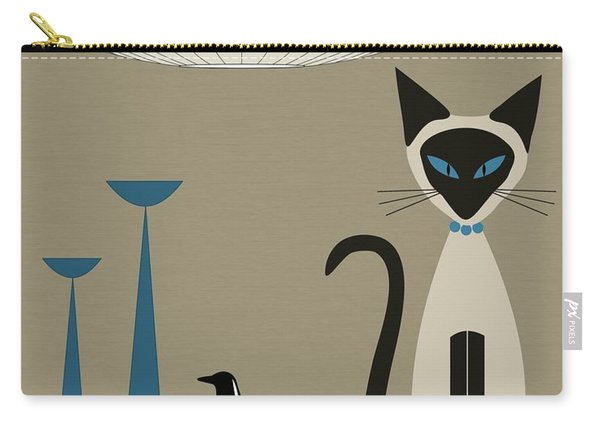 Siamese Cat With Eames House Bird Carry-all Pouch