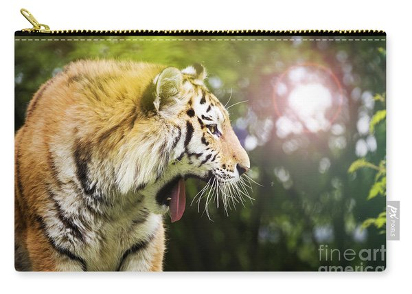 Siberian Tiger In Sunlit Forest Carry-all Pouch
