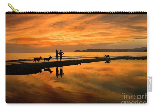 Silhouette And Amazing Sunset In Thassos Carry-all Pouch